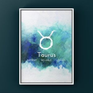 Taurus zodiac signs white on blue watercolor art
